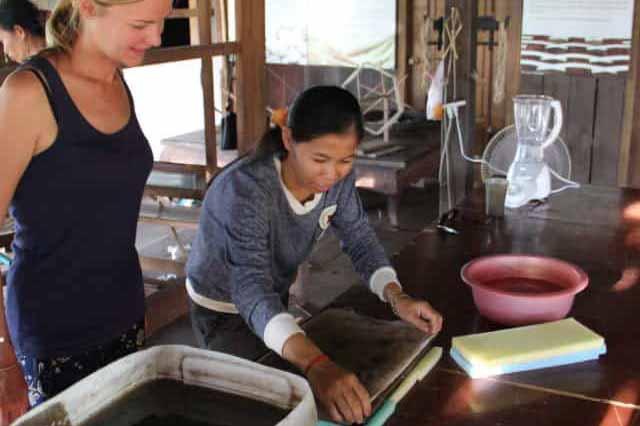 Making lotus paper